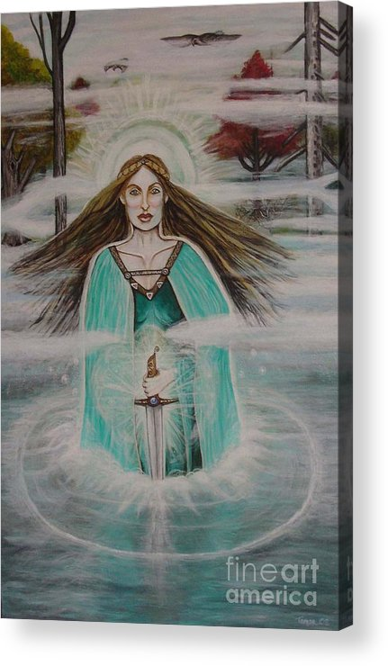 Goddess Acrylic Print featuring the painting Lady of the Lake II by Tammy Mae Moon