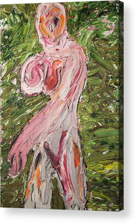 Nude Abstract Acrylic Print featuring the painting Lady08 by Ira Stark