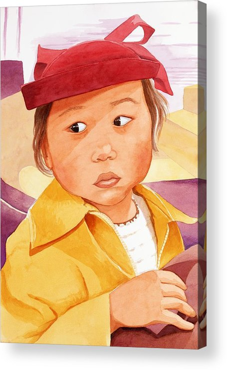 Little Japanese Girl In Red Hat Acrylic Print featuring the painting Little Girl in Red Hat by Judy Swerlick