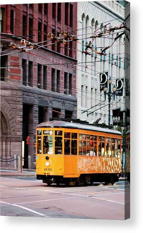 I Love Sf Acrylic Print featuring the photograph Market Streetcar - San Francisco by Melanie Alexandra Price