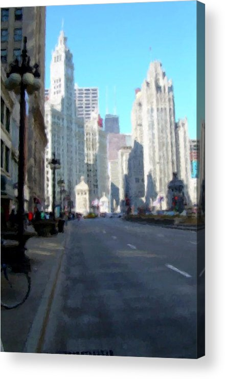 Chicago Acrylic Print featuring the digital art Michigan Ave tall by Anita Burgermeister