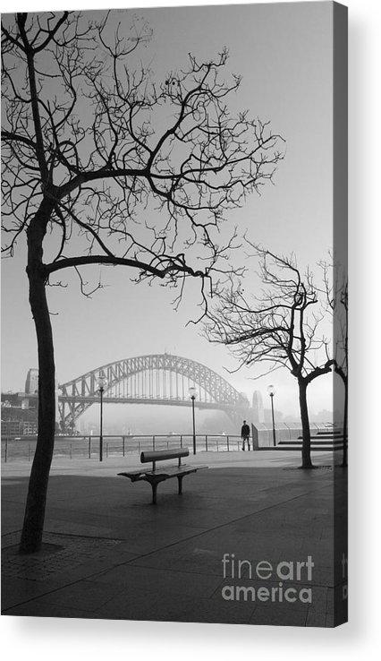 Sydney Harbour Bridge Mist Australia Acrylic Print featuring the photograph Misty Sydney morning by Sheila Smart Fine Art Photography