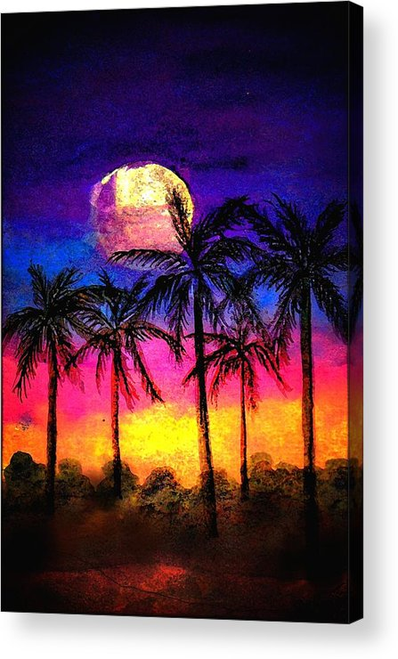 Silhouette Acrylic Print featuring the painting Moonrise Over the Tropics by Dina Sierra