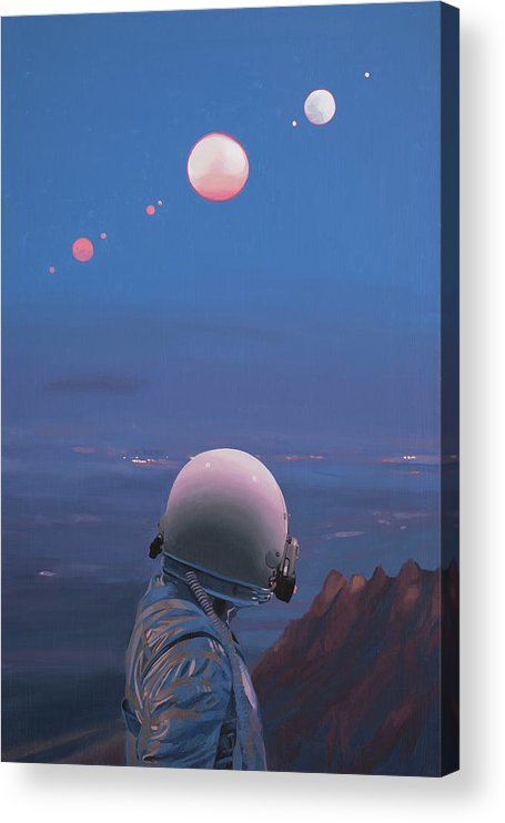 Astronaut Acrylic Print featuring the painting Moons by Scott Listfield