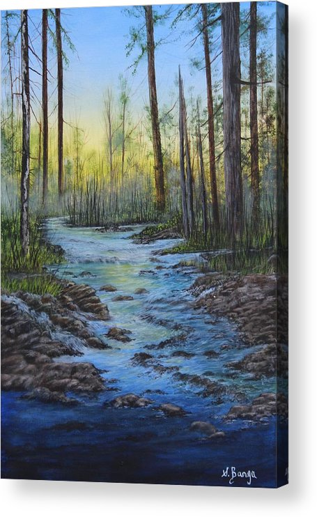 Landscape Acrylic Print featuring the painting Morning Glow by Sheila Banga