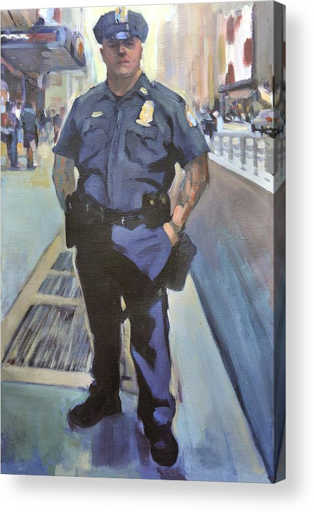 Cop On The Beat.new York Policeman Acrylic Print featuring the painting New York by Merle Keller