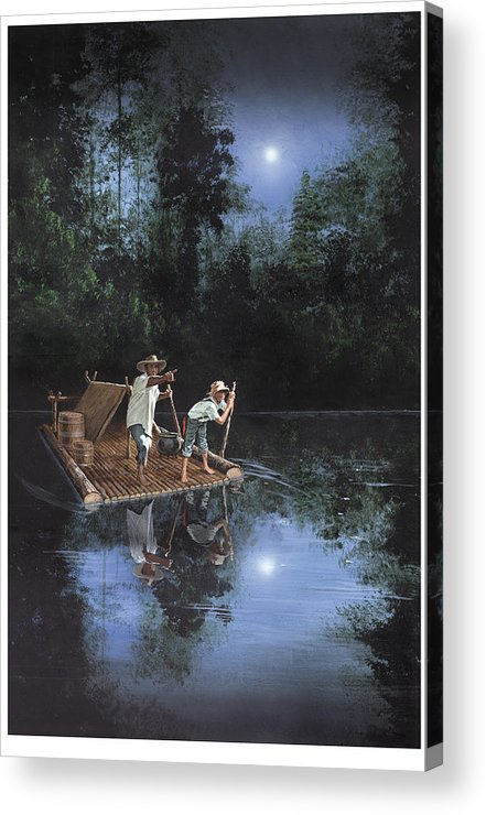 Harold Shull Acrylic Print featuring the painting On The River by Harold Shull