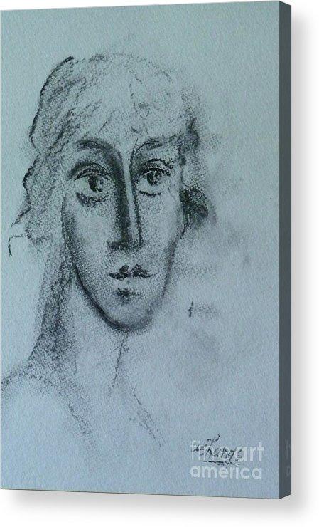 Woman Acrylic Print featuring the drawing Perceptive by Ushangi Kumelashvili