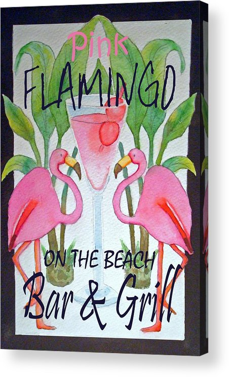 Pink. Flamingo Acrylic Print featuring the painting Pink Flamingos On The Beach Bar and Grill by Kerra Lindsey