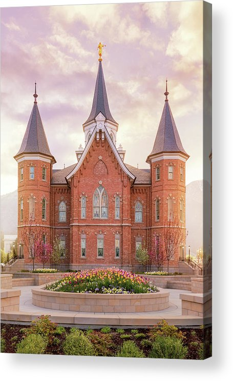 Provo City Center Utah Temple Acrylic Print featuring the photograph Provo City Center Temple Dawn Vertical by Tausha Schumann