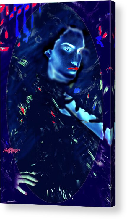 A Bizarre Evil Witch Flies With The Ravens Acrylic Print featuring the digital art Raven Woman by Seth Weaver
