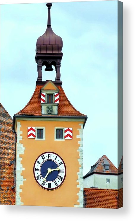 Clock Tower Acrylic Print featuring the photograph Regensburg Clock Tower by Kirsten Giving