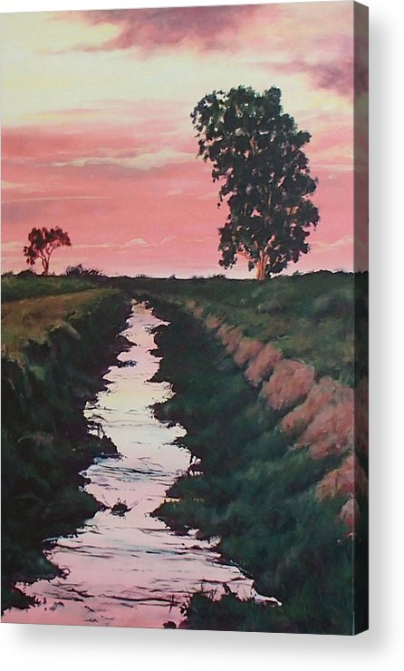 Landscape Acrylic Print featuring the painting Red Skies by Philip Fleischer