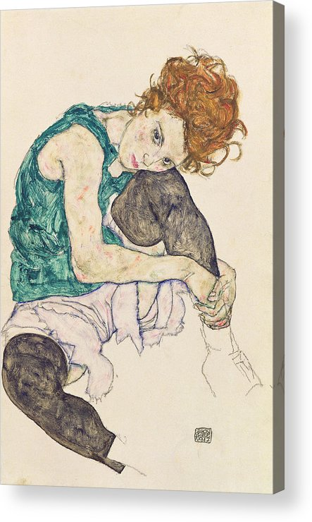 Egon Schiele Acrylic Print featuring the painting Seated Woman with Bent Knee by Egon Schiele