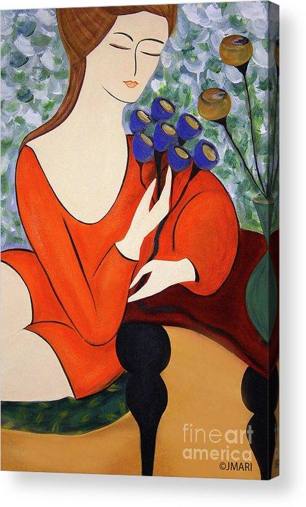 #female #figurative #floral #fineart #art #images #painting #artist #print #canvas #sittingwomen Acrylic Print featuring the painting Sitting Women by Jacquelinemari