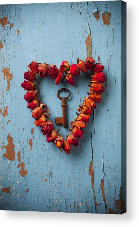 Love Rose Heart Wreath Key Acrylic Print featuring the photograph Small rose heart wreath with key by Garry Gay