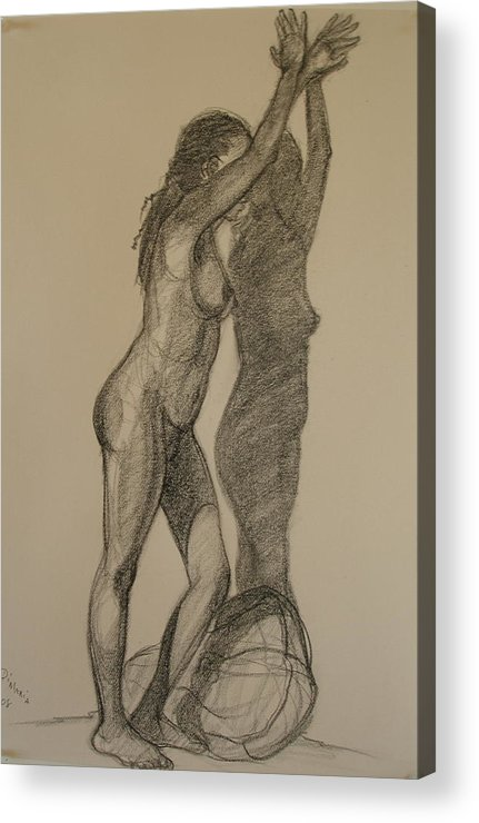 Realism Acrylic Print featuring the drawing Standing Nude 1 by Donelli DiMaria