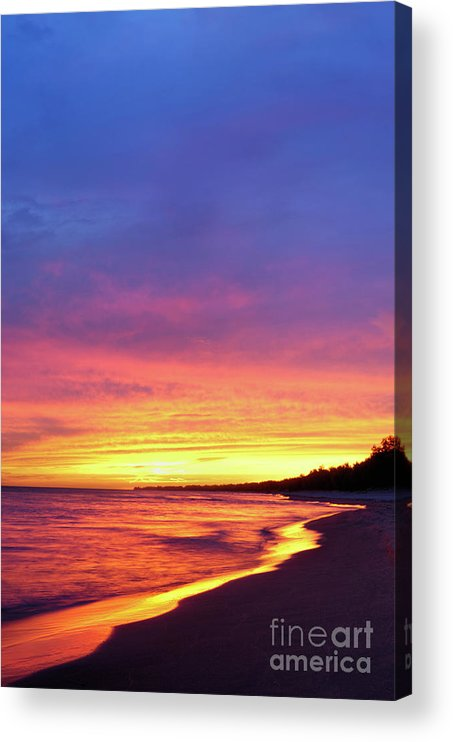 Beach Acrylic Print featuring the photograph Sunset Over Beach by Maxim Images Prints
