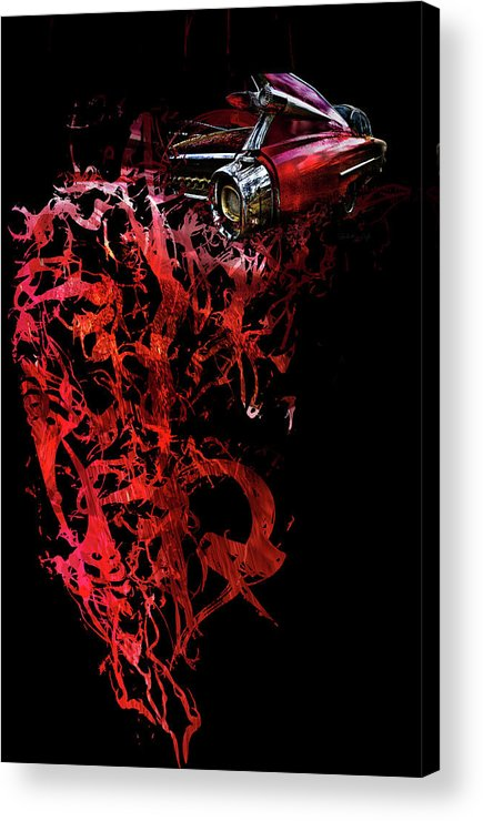 Cadillac Acrylic Print featuring the photograph T Shirt Deconstruct Red Cadillac by Glenda Wright