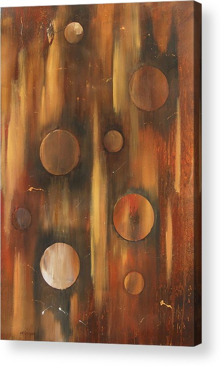 Tear Drops Tears Drops Abstract Painting Rings Acrylic Print featuring the painting Tear Drops by Miroslaw Chelchowski
