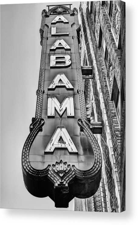 The Alabama Theater Acrylic Print featuring the photograph The Alabama Theater in Black and White by JC Findley