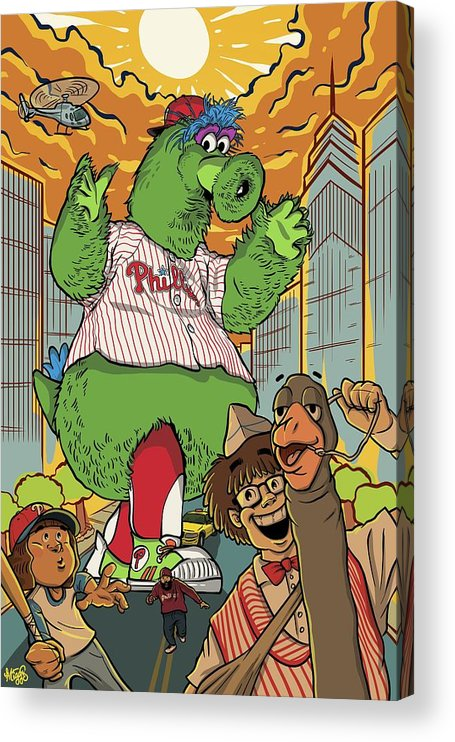 Philly Acrylic Print featuring the drawing The Pherocious Phanatic by Miggs The Artist