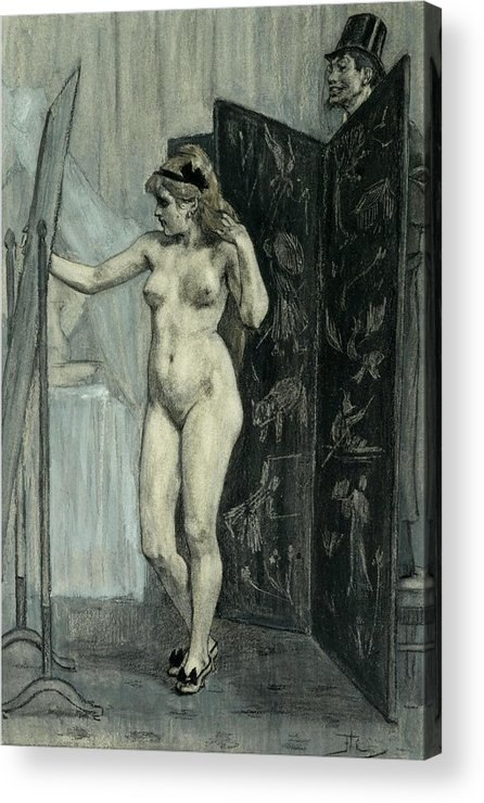 Felicien Rops Acrylic Print featuring the drawing The Screen by Felicien Rops