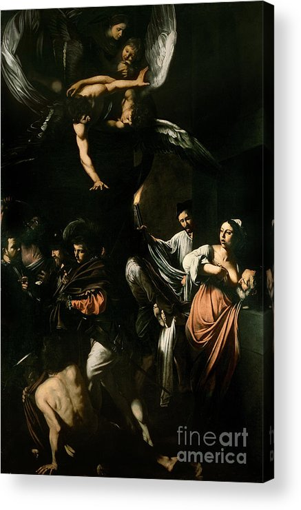 Breast Feeding; Old Man; Acts; Charity; Angel; The Seven Works Of Mercy Acrylic Print featuring the painting The Seven Works Of Mercy by Caravaggio
