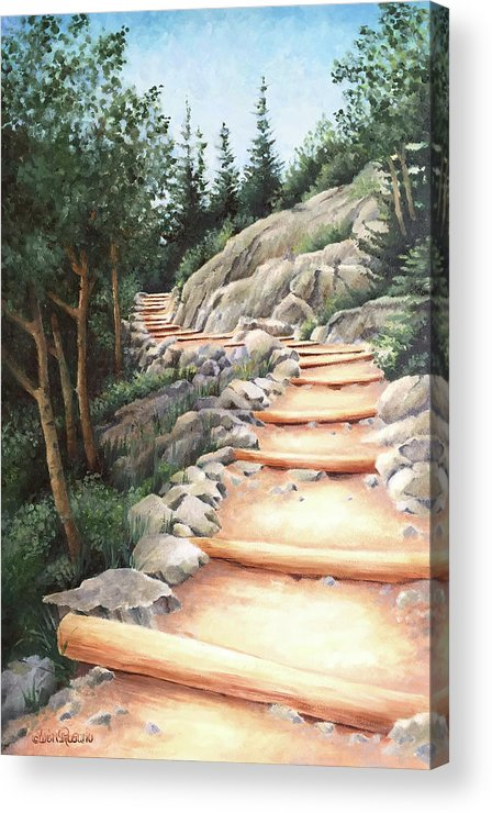 Landscape Acrylic Print featuring the painting Up the Mountain by Teri Rosario