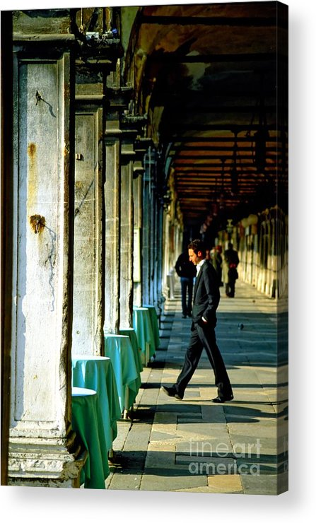 San Marco Acrylic Print featuring the photograph Waiter Walking at San Marco in Venice by Michael Henderson