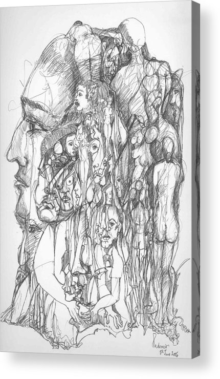 Surreal Acrylic Print featuring the drawing What by Padamvir Singh