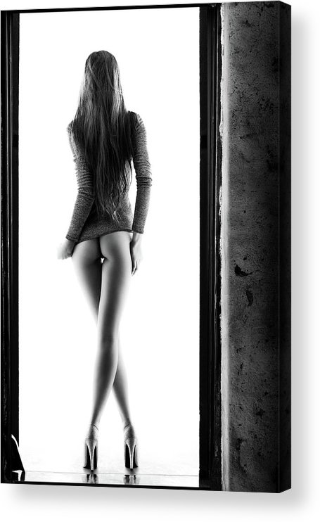 Woman Acrylic Print featuring the photograph Woman standing in doorway by Johan Swanepoel