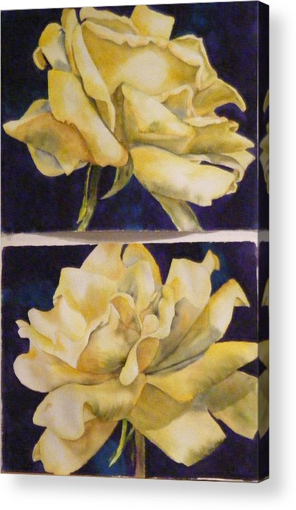 Roses Acrylic Print featuring the painting Yellow Roses Diptych by Diane Ziemski