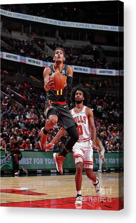 Nba Pro Basketball Acrylic Print featuring the photograph Atlanta Hawks V Chicago Bulls by Jeff Haynes