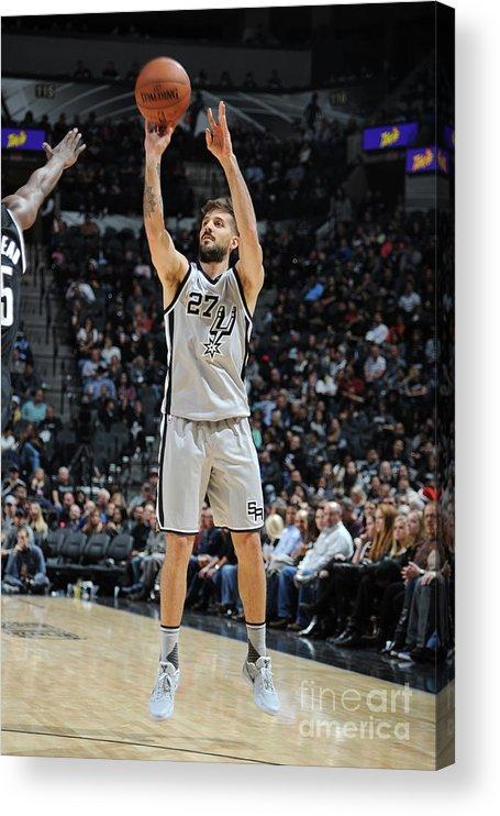 Nicolás Laprovittola Acrylic Print featuring the photograph Brooklyn Nets V San Antonio Spurs by Mark Sobhani