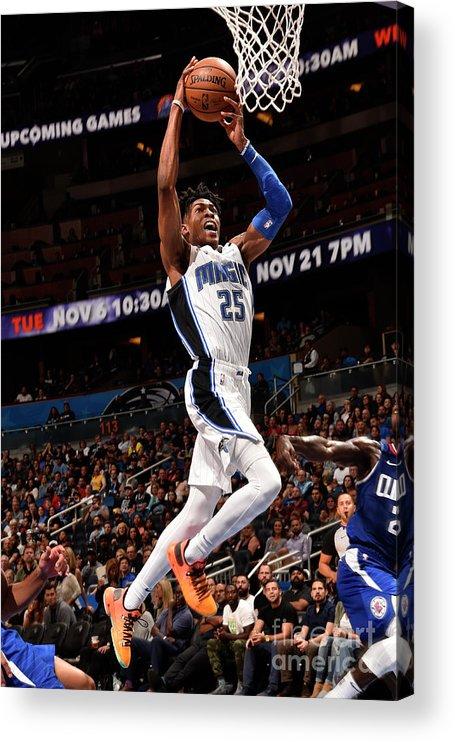 Nba Pro Basketball Acrylic Print featuring the photograph La Clippers V Orlando Magic by Gary Bassing