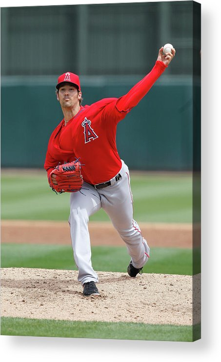 American League Baseball Acrylic Print featuring the photograph Los Angeles Angels Of Anaheim V Oakland by Sarah Crabill