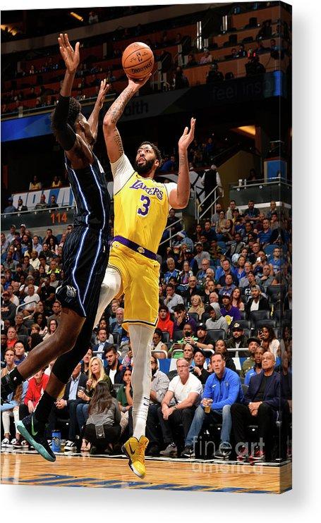 Nba Pro Basketball Acrylic Print featuring the photograph Los Angeles Lakers V Orlando Magic by Gary Bassing