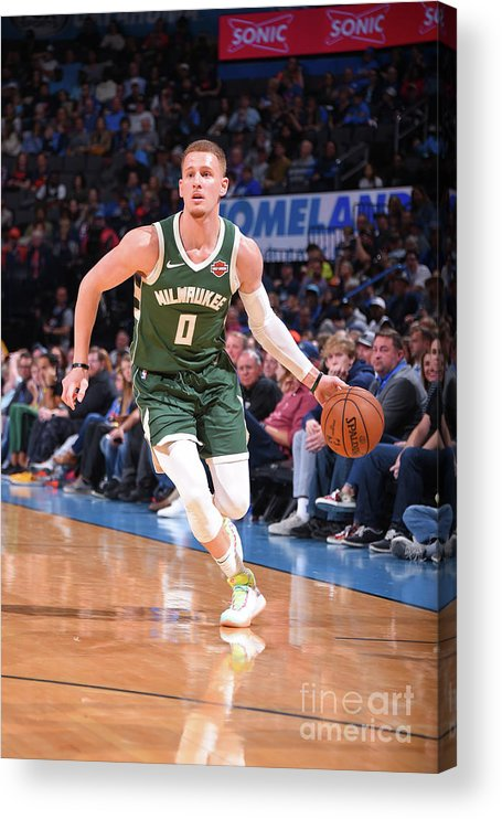 Nba Pro Basketball Acrylic Print featuring the photograph Milwaukee Bucks V Oklahoma City Thunder by Bill Baptist