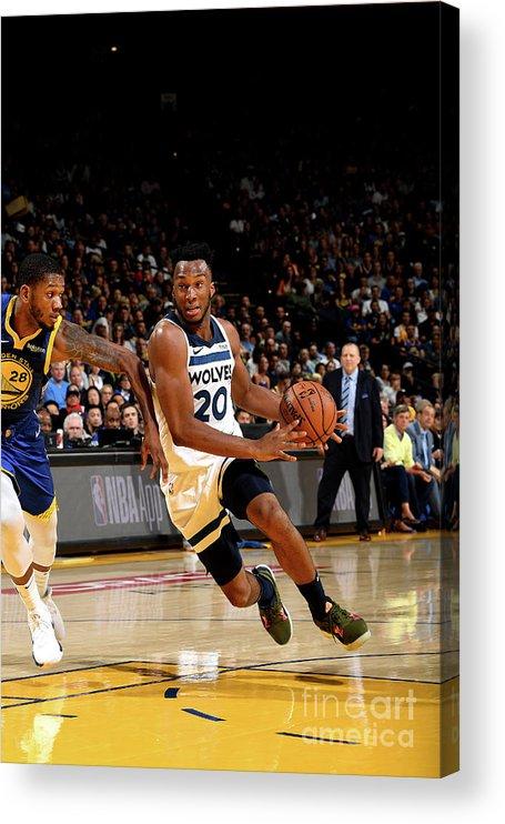 Nba Pro Basketball Acrylic Print featuring the photograph Minnesota Timberwolves V Golden State by Noah Graham