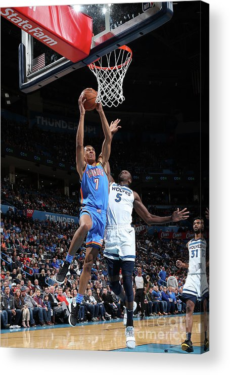 Nba Pro Basketball Acrylic Print featuring the photograph Minnesota Timberwolves V Oklahoma City by Zach Beeker