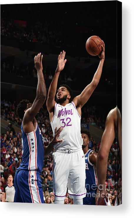 Nba Pro Basketball Acrylic Print featuring the photograph Minnesota Timberwolves V Philadelphia by David Dow