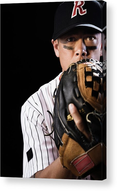 Baseball Cap Acrylic Print featuring the photograph Mixed Race Baseball Player Pitching by Hill Street Studios