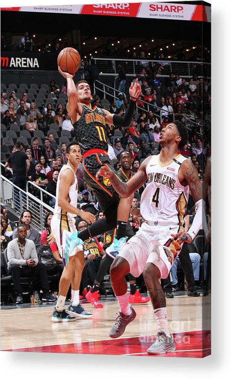 Atlanta Acrylic Print featuring the photograph New Orleans Pelicans V Atlanta Hawks by Jasear Thompson