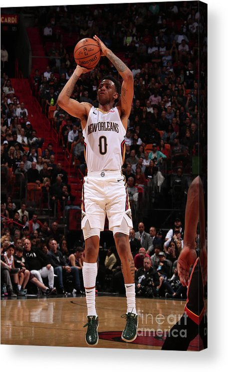 Nba Pro Basketball Acrylic Print featuring the photograph New Orleans Pelicans V Miami Heat by Issac Baldizon