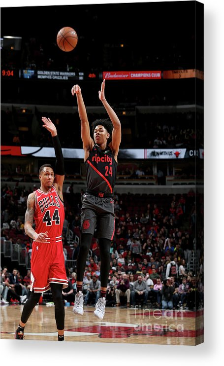 Nba Pro Basketball Acrylic Print featuring the photograph Portland Trail Blazers V Chicago Bulls by Gary Dineen