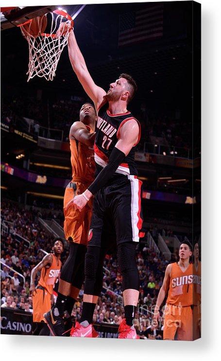 Jusuf Nurkić Acrylic Print featuring the photograph Portland Trail Blazers V Phoenix Suns by Barry Gossage