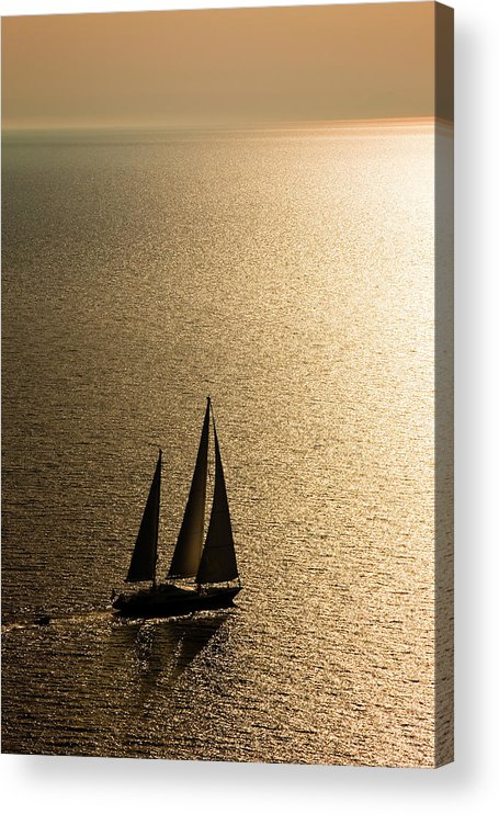 Curve Acrylic Print featuring the photograph Sailing At Sunset by Mbbirdy