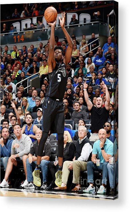 Nba Pro Basketball Acrylic Print featuring the photograph Toronto Raptors V Orlando Magic by Gary Bassing