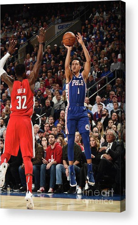 Nba Pro Basketball Acrylic Print featuring the photograph Washington Wizards V Philadelphia 76ers by David Dow